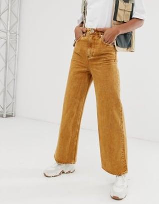 asos-design-tall-premium-wide-leg-jeans-mustard