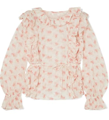 doen luca ruffled floral-print blouse