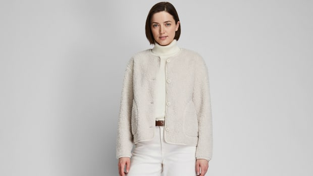 uniqlo fleece cardigan crop