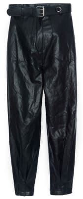 pleated cuff faux leather pants