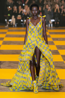 checkerboard print paris fashion week trend-8
