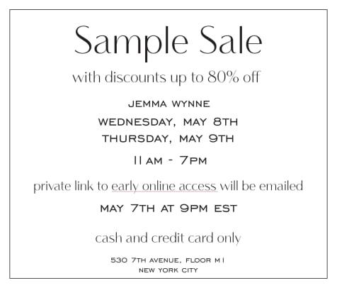 Sample Sale 2019