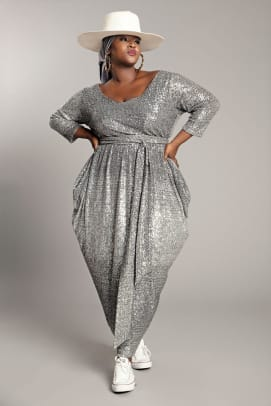 Jibri Long Sleeved Sequin Slouch Dress