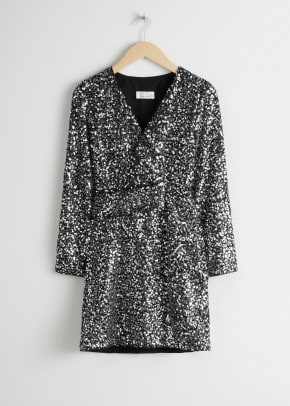 & Other Stories Belted Sequin Dress