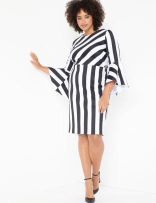 Eloquii Flare Sleeve Black White Dress