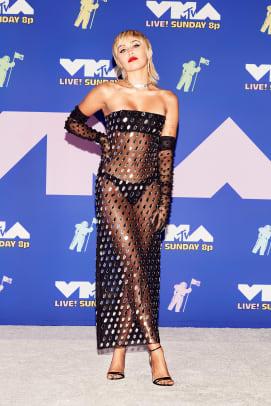 Miley Cyrus wearing Mugler Arrivals MTV VMAs 2020