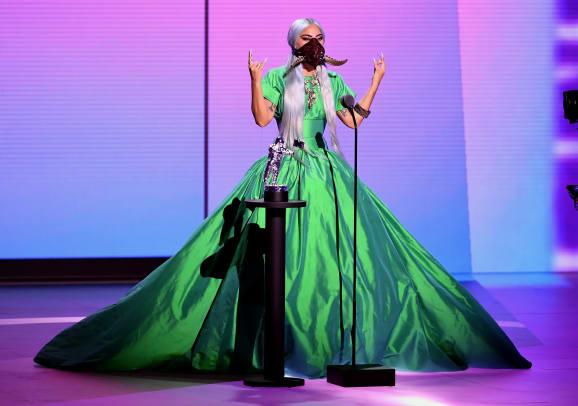 Lady Gaga wearing Christopher John Rogers Acceptance MTV VMAs 2020