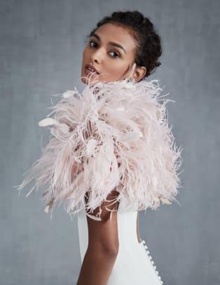 Ines Di Santo-bridal-fall-2021-wedding-dress-Feather Bolero_
