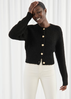& Other Stories Bouclé Knit Cropped Cardigan