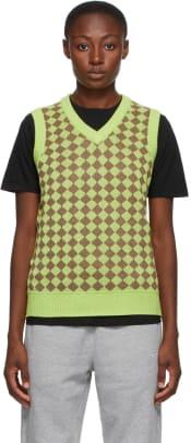 stussy-green-melange-checker-sweater-vest