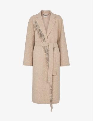 Whistles Fringe-embellished wool-blend coat Selfridges
