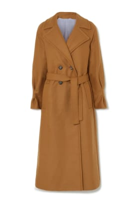 Belted double-breasted merino wool-blend coat, £1295, YOOX NET-A-PORTER for The Prince's Foundation, NET-A-PORTER, YOOX and THE OUTNET