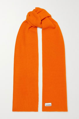 orange ganni scarf