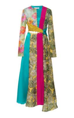 Prabal Gurung Taxila Cut-Out Linen-Blend Midi Dress
