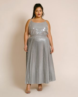 11 honore plus size pleated sequin skirt