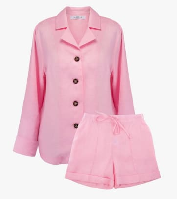 Womens-Linen-Basic-Classic-Pajama-with-Shorts-In-Pink-1152x1732