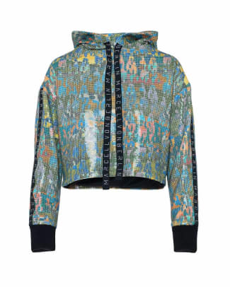 MARCELL VON BERLIN-FW19-womens-printed-sequin-cropped-hoodie - Copy