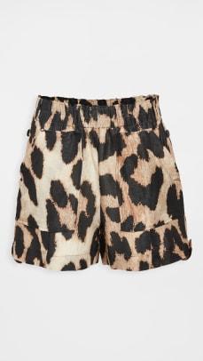 ganni leopard shorts