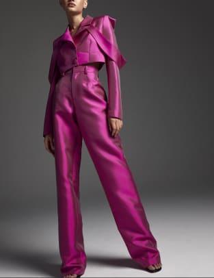 aliette silk wool wide leg trousers