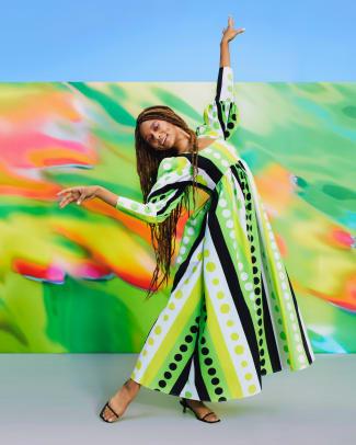 Christopher John Rogers for Target Polka Dot Long Sleeve Dress in GreenYellow_$55