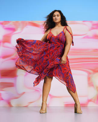 ALEXIS for Target Tropical Leaf Tie Strap Asymmetrical Hem Dress in OrangeBlue_$50