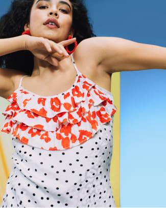 RIXO for Target Polka Dot Sleeveless Ruffle Slip Dress in White_$50