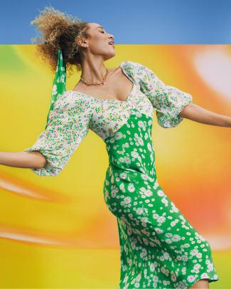 RIXO for Target Daisy Long Sleeve Swing Dress in Green_$55