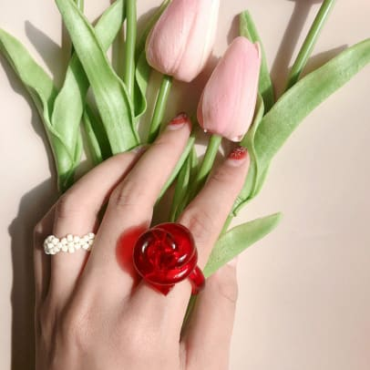 ASaturdayShop Colorful Flora Statement Ring Unique Chunky Transparent Acrylic Etsy