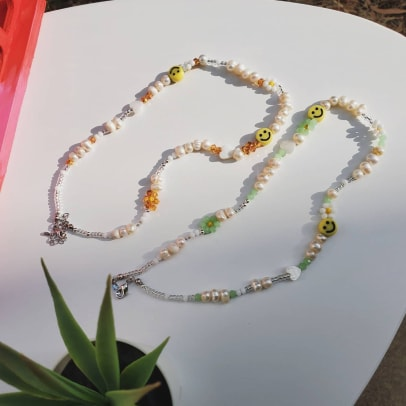 EllyjoyCo Freshwater Pearl beaded Smiley Face y2k Necklace Etsy