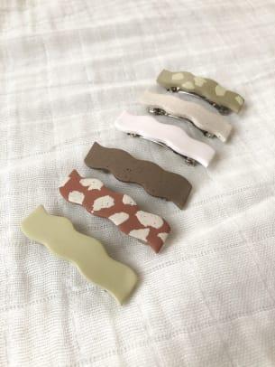 ShepherdLaneCo Polymer Clay Hair Barrettes in Long Organic Squiggle Shape Etsy
