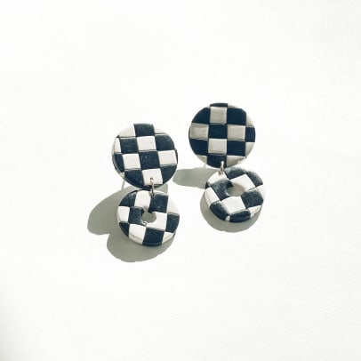 helloeana Checkerboard Handmade Earring Etsy