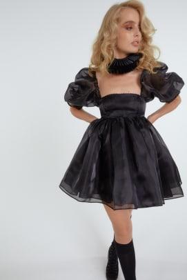 selkie black puff dress