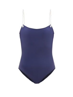 issimo-solid-striped swimsuit