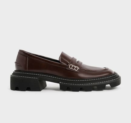 Charles and Keith Perline Chunky Penny Loafers - Dark Brown