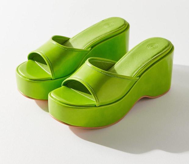 neon green platform sandals real 520fc