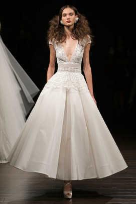 Tea Length Low Back Wedding Dress