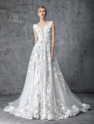 Victoria Kyriakides-jasmine-wedding-dress-floral-applique-spring-2019