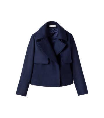 cuyana wool navy coat
