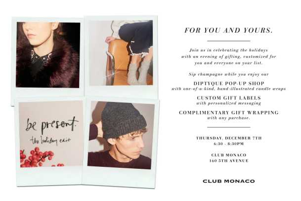 Club Monaco Cuztomized Holiday Gifting, For You and Yours - EVITE-1
