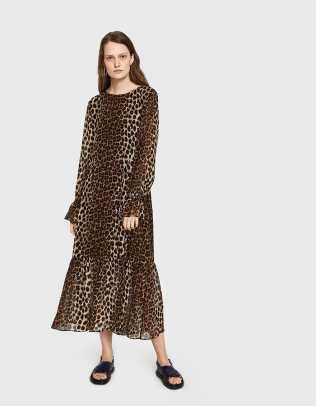 leopard-long-sleeve dress