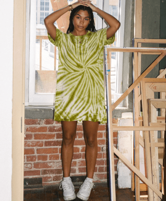 tie dye t-shirt dress recycled cotton