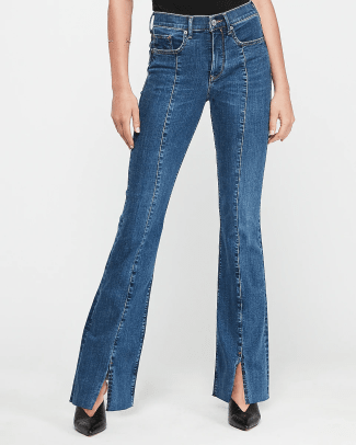 express-high-waisted-denim-perfect-seamed-front-slit-bootcut-jeans