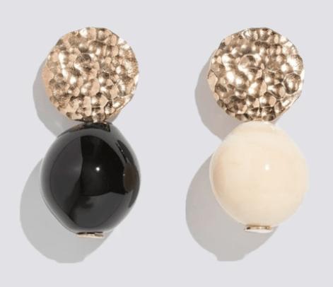 noir textured globe earrings modern weaving