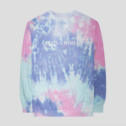 ariana grande god is a woman tie dye crewneck
