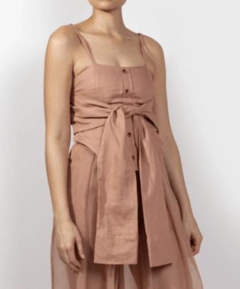 Fe Noel Rose Linen Corset Tie Top