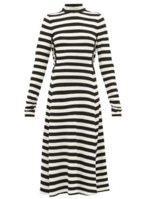 Marc Jacobs Striped Wool-Blend Knit Midi Dress