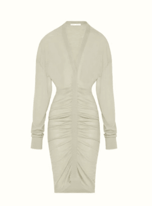 Fenty Plunging Pleated Knit Dress