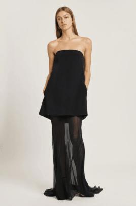 Cushnie Silk Crepe Strapless Gown with Silk Chiffon Layer
