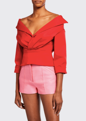 Brandon Maxwell Off-the-Shoulder Top with Jacket Detail BG