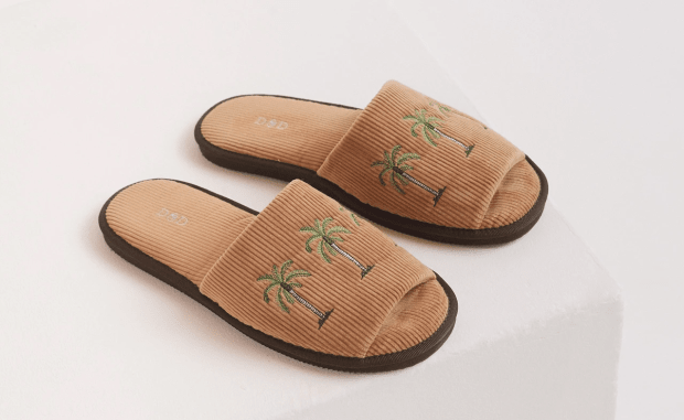 Desmond Dempsey UNISEX CORDUROY SLIDES Palm Tree Embroidery